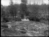 Lumber in foreground of pond and trees