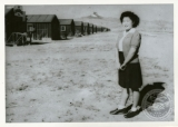 Rows of buildings at the Heart Mountain Relocation Center in Wyoming, ca. 1942