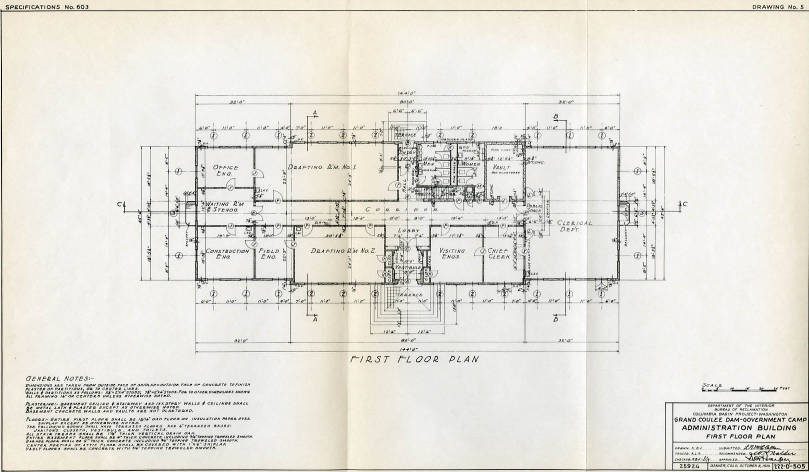 First Floor Plan Of Government Camp Administration Building Frank A Banks Collection Wsu Libraries Digital Collections