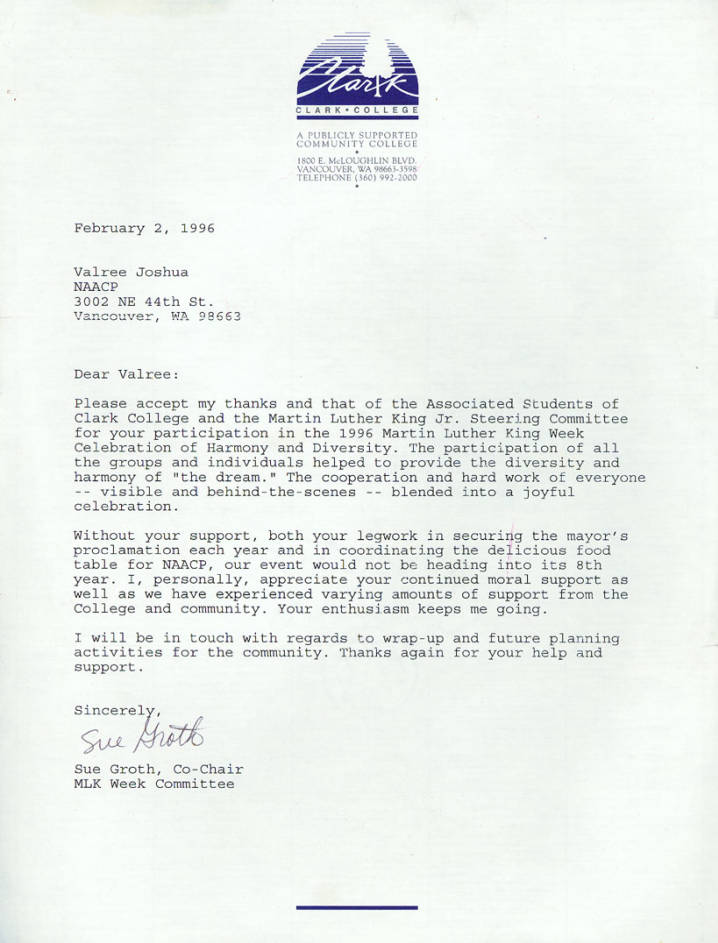 Thank you letter from Sue Groth to Valree Joshua, February 2