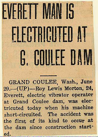 State history  Grand Coulee dam  Accidents  Electricity  1937-06-30