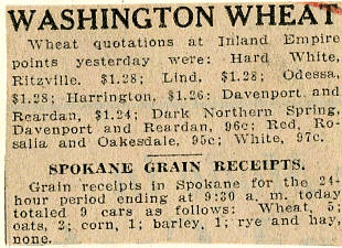 State history  Agriculture  Wheat  Wheat quotations and prices  1929
