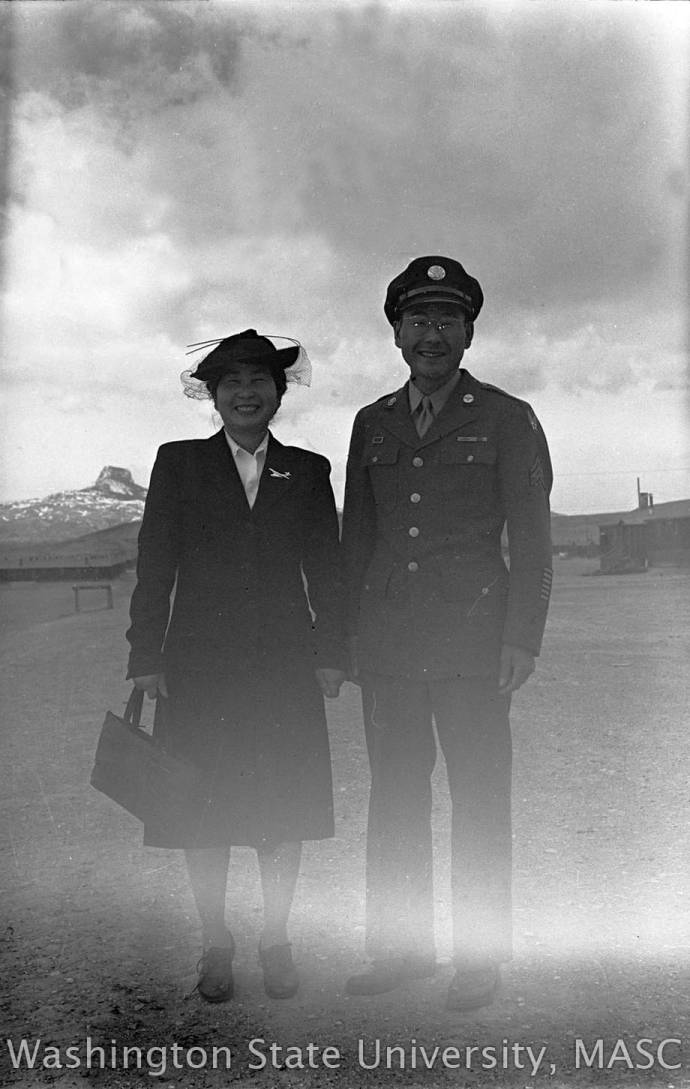 54481a458e9 Mr. Hayashida in a military uniform with Mrs. Hayashida. - George ...