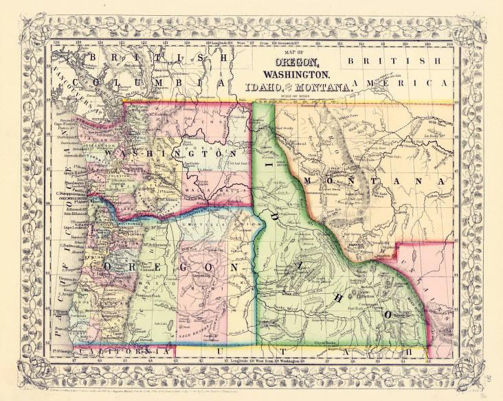 washington idaho montana map Map Of Oregon Washington Idaho And Montana 1866 Early washington idaho montana map
