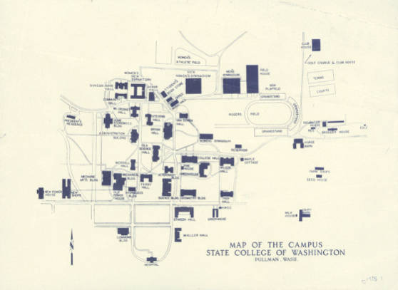 Map Of Campus State College Of Washington Pullman 1935 Early