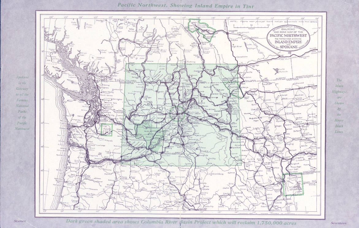 road map of pacific northwest Geographically Correct Railroad And Road Map Of The Pacific road map of pacific northwest