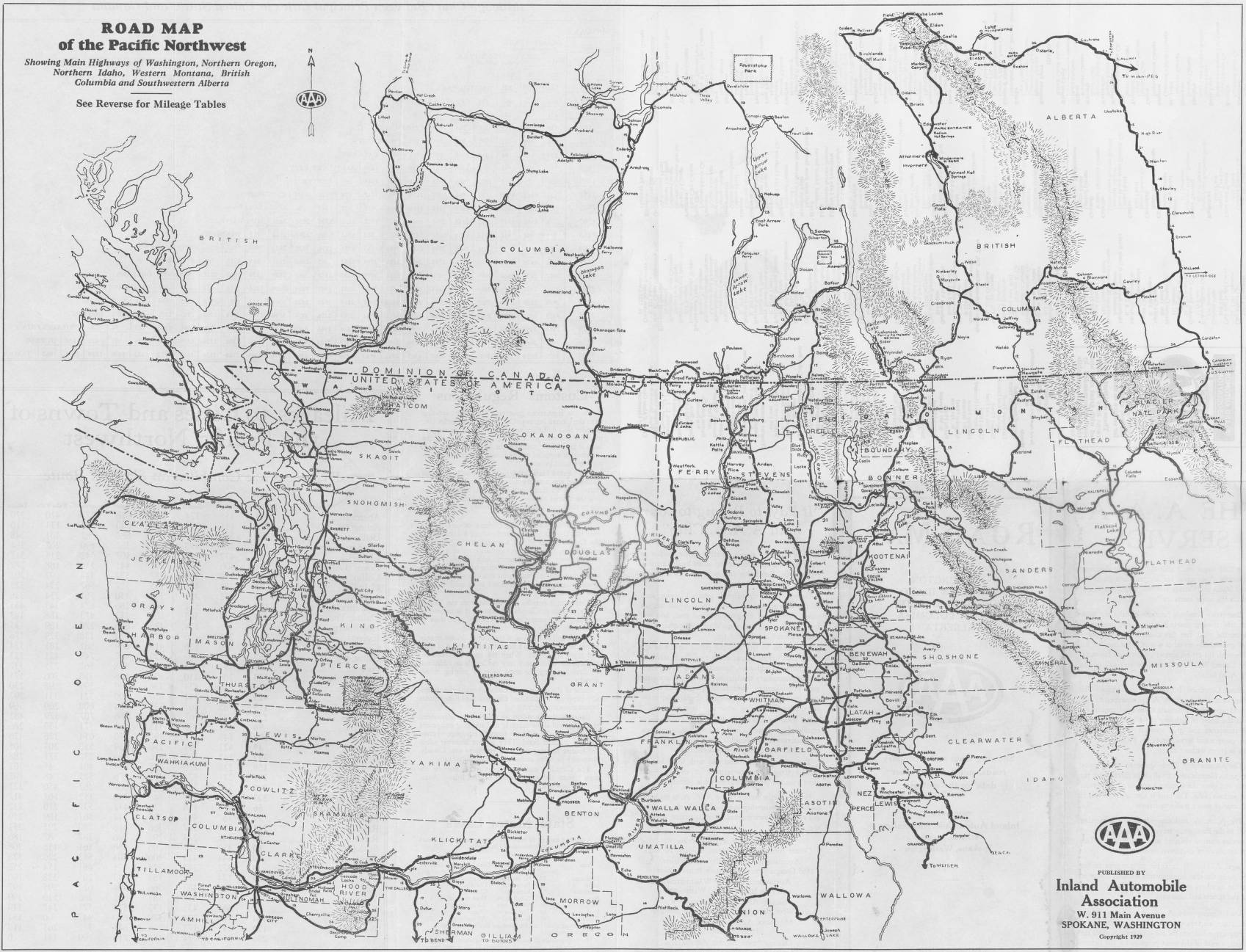 road map of pacific northwest Road Map Of The Pacific Northwest Showing The Main Highways Of road map of pacific northwest
