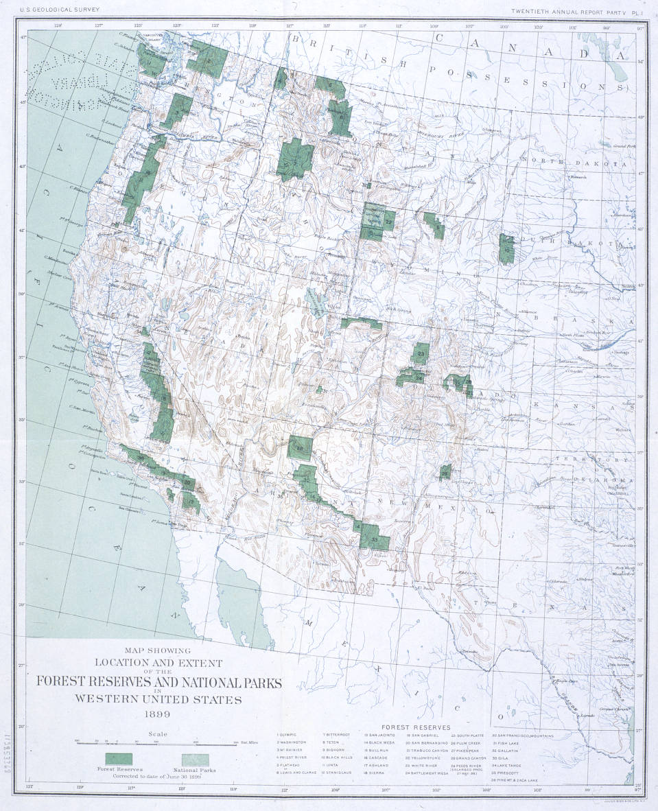 Map Showing Location And Extent Of The Forest Reserves And National - Map-of-national-parks-in-western-us