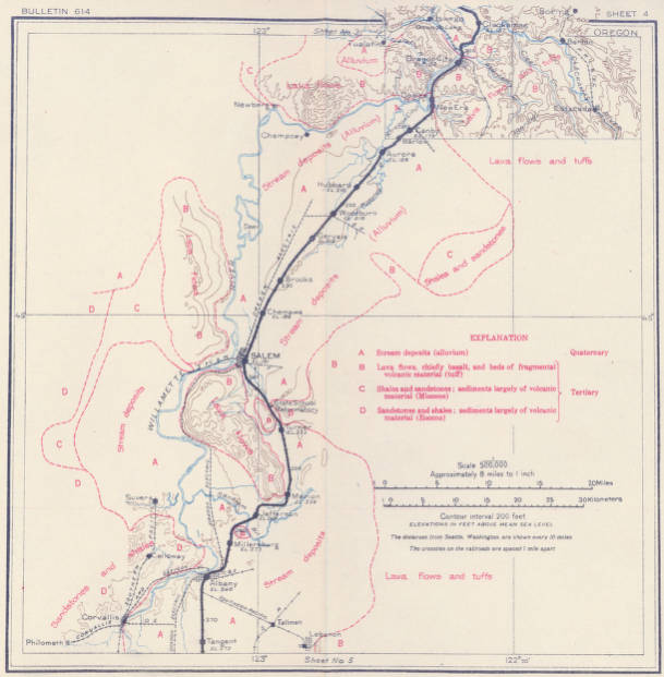 Geologic and topographic map of the Coast route from Seattle