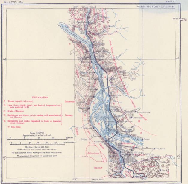 Geologic and topographic map of the Coast route from Seattle ... on map from seattle to yellowstone, map from seattle to disneyland, map from seattle to alaska, map from seattle to dubai, map from seattle to new york city, map from seattle to vancouver canada, map from seattle to juneau, map from seattle to fairbanks, map seattle to portland, map from seattle to redwood forest, map from seattle to wyoming, map from seattle to tokyo, map from seattle to big sur, map from seattle to california,