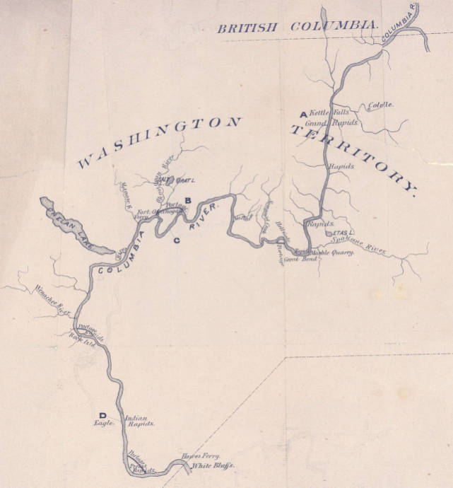 The Columbia River From Ainsworth To Kettle Falls 1881 Early