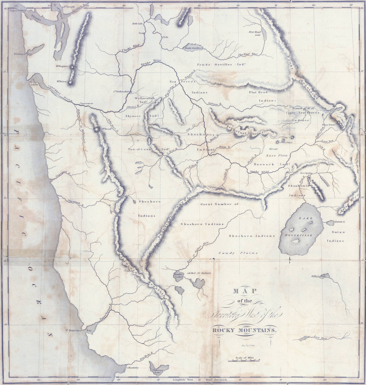 Map Of The Territory West Of The Rocky Mountains 1837 Early