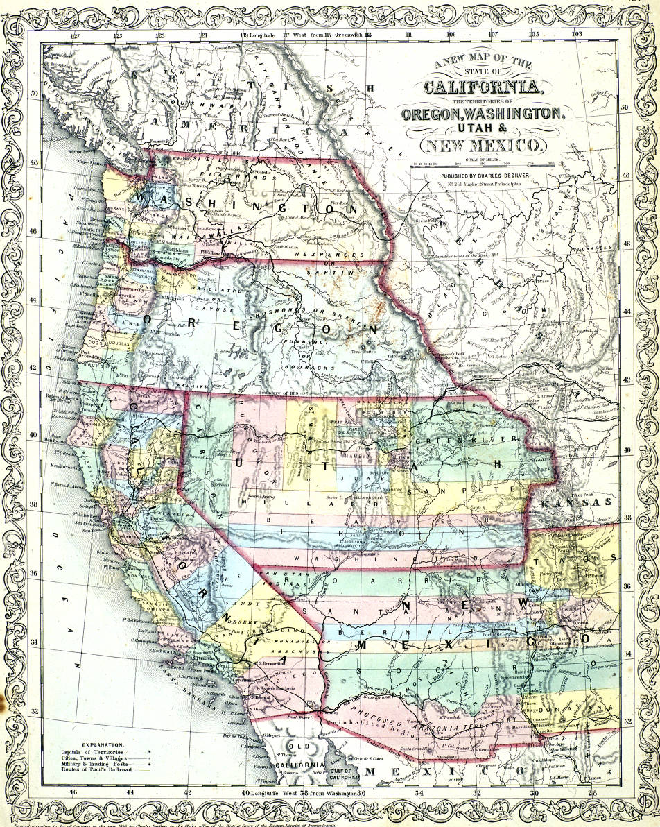 Map Of California To Oregon.A New Map Of The State Of California The Territories Of Oregon