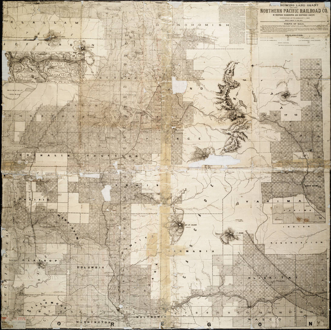 Map showing land grant of the Northern Pacific Railroad Co. in ...