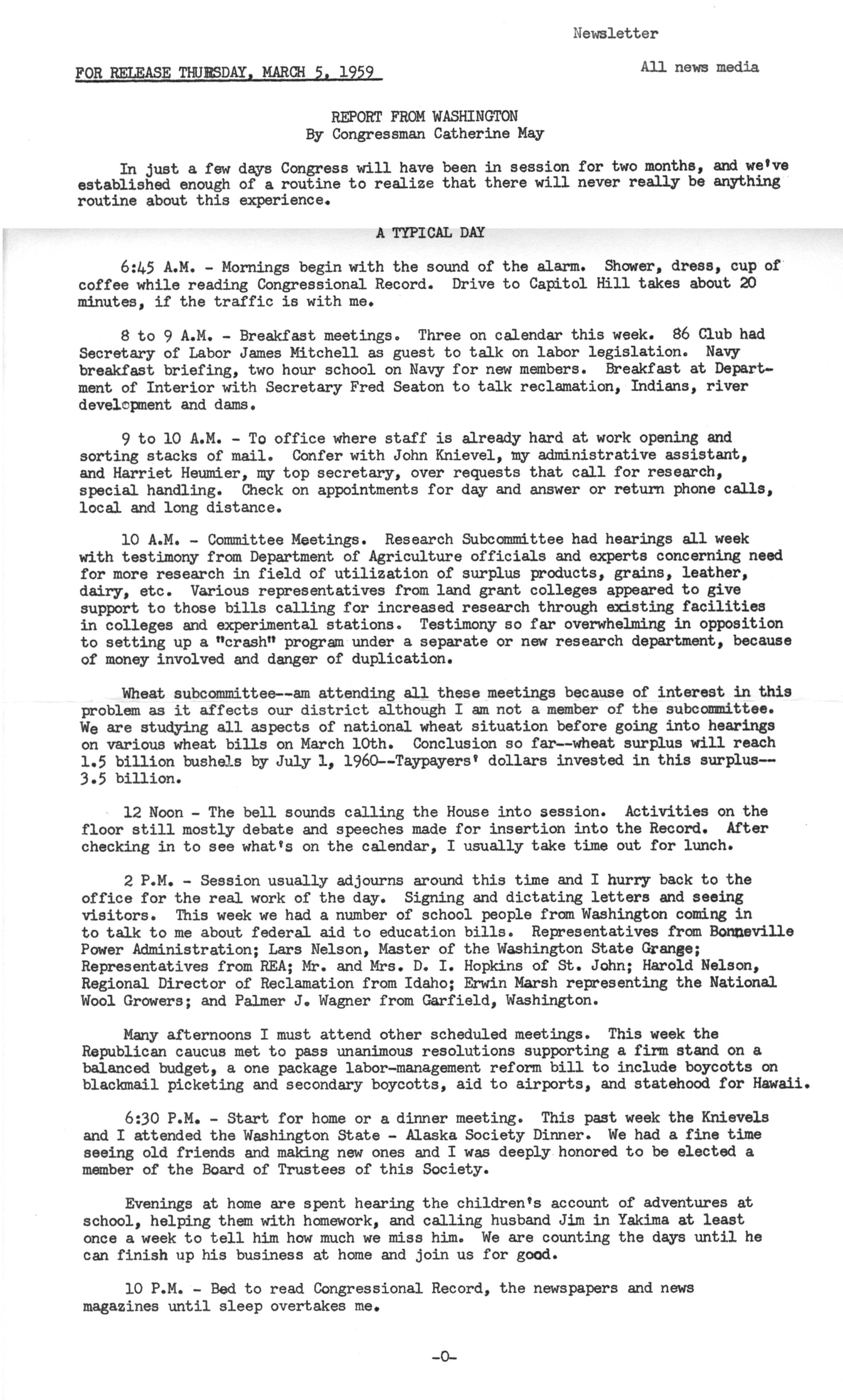 Report from Washington  5 March 1959 - Catherine May Congressional
